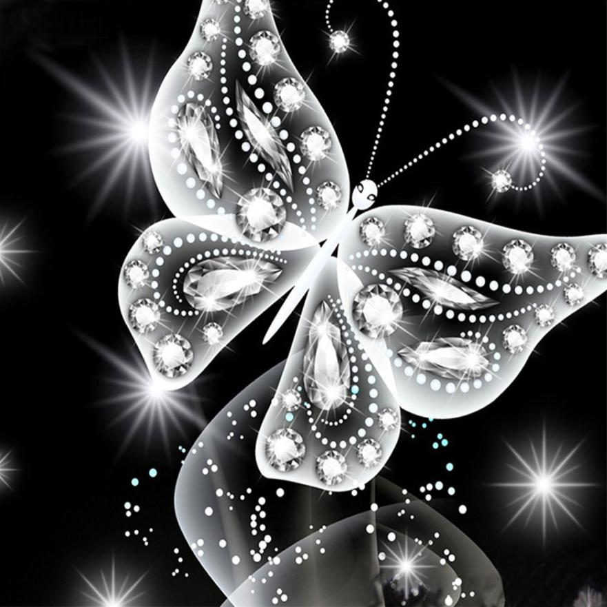 Embroidery 5D Embroidery Paintings Butterfly Rhinestone Pasted DIY Diamond Painting  Cross Stitch Drop Shipping drees     2018a4
