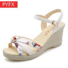 Summer 2019 New Fashionable Sweet Korean shoes Ribbon Waterproof Terrace High-heel Slope printing Womens Professional Sandals