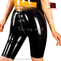Sexy Inflatable Latex long leg boxer shorts with front zip hand pump Rubber Bermuda Bottoms size XXXL KZ 130