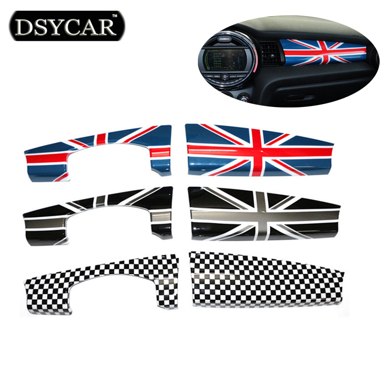 DSYCAR 2pcs/set Instrument Panel Decoration Dashboard Cover Interior Decorations Union Jack Refit For Mini F55 F56 Car Styling dashboard cover