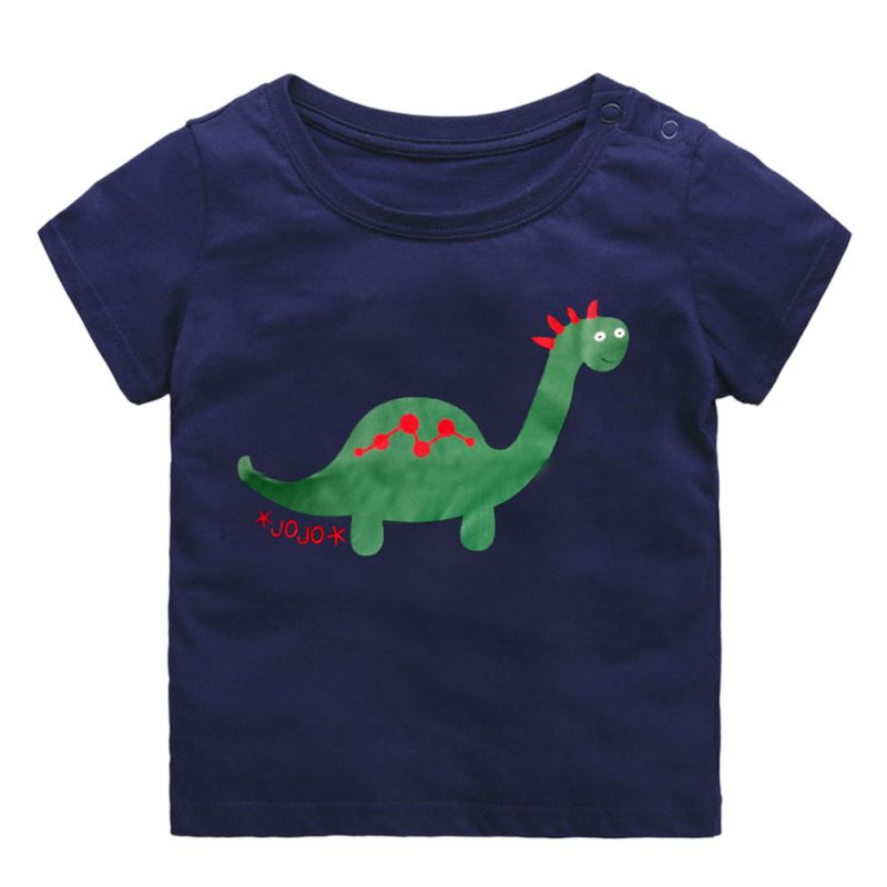Cotton Cartoon Print Baby Boys Dinosaur T-Shirt For Summer Infant Kids Boys Girls Lion T-Shirts Clothes Toddler Letter Tops 1-5Y
