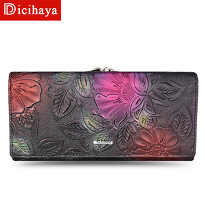 Image 2 - DICIHAYA New Arrive Ladies Wallets Leather Women Long Purse Flower Embossing Female Hasp Wallet Money Cards Purse Phone Bag