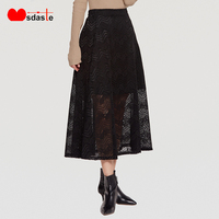 Lace Women Skirts Double Layers 2019 New Fashion Casual A Line High Waist Empire Preppy Style Black Color Female Ladies Skirt