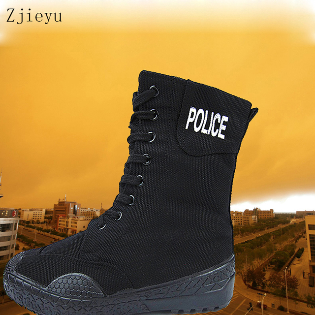 7e558df04d3 US $21.95 5% OFF|2017 black mountain climbing boots canvas shoes with  rubber sole police boots bots Military Tactical Combat Boots bota  masculin-in ...