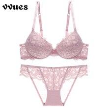 VVUES Sexy Lace Bras Set Lingerie Brassiere 3/4 Cup Women Seamless Female Underwear Push Up  Bralettes Transparent Bra