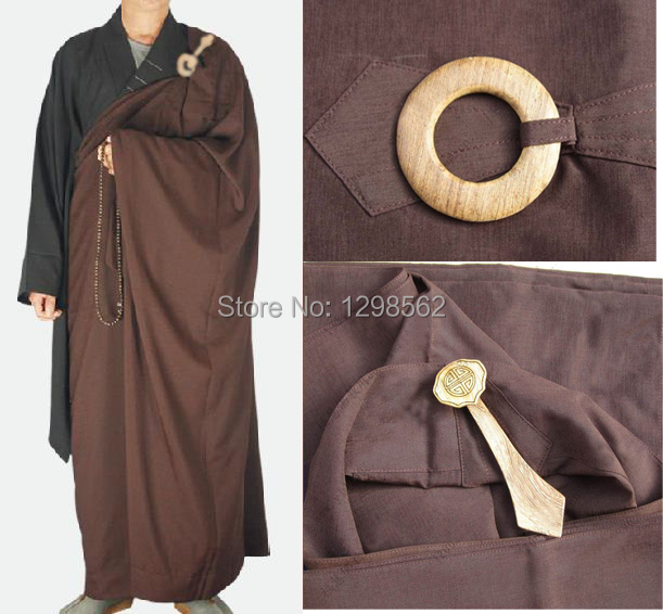 Home Smart 2pcs/set Woodenhook Buddhist Monk Long Robebuddhism Uniforms Meditation Martial Arts Garments Kung Fu Costumegown Qiyi Cheap Sales