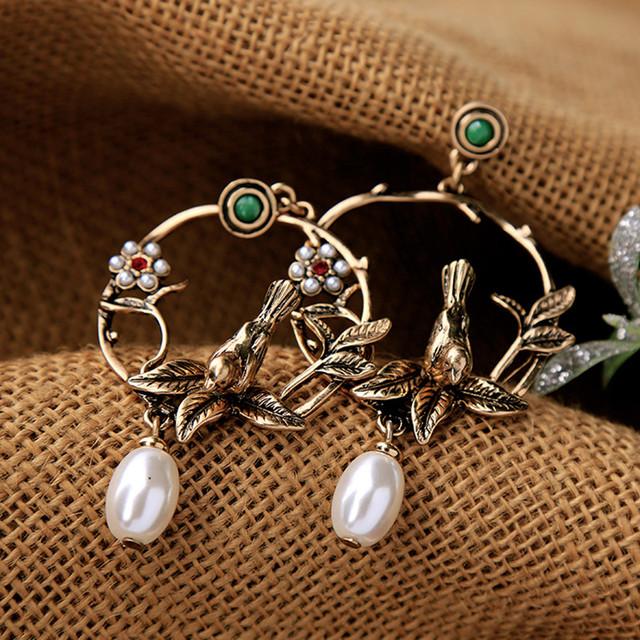 Vintage Bird Embellished Earrings for Women