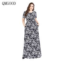 1a62843fed QMGOOD Summer Dress For Fat Mm Robe Female Elegant Dresses Short Sleeve  Printing Long Dress Plus