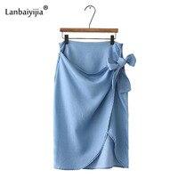 Lanbaiyijia Europa Ameryka Najnowsze Kobiety Spódnice Stałe wysoka talia Bowknot lace-up Women Jeans Spódnica dolna hem Asymetryczna spódnica