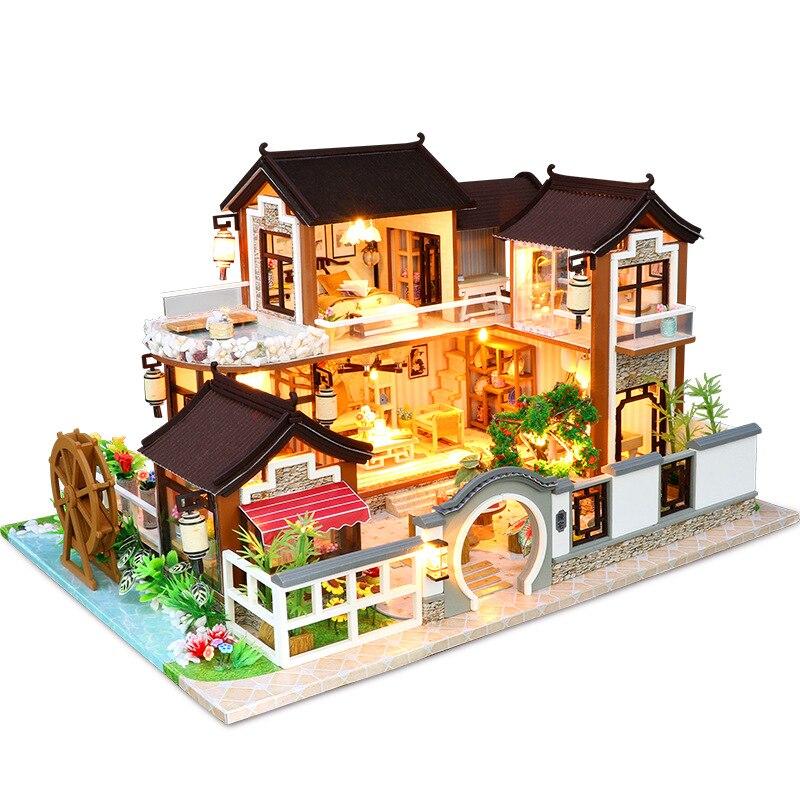 Oyuncaklar ve Hobi Ürünleri'ten Oyuncak Bebek Evleri'de Rüya geri Antik Şehir DIY 3D Ahşap Mini Dollhouse Mobilya tozluk çocuklar için Eğitici Oyuncaklar doğum günü hediyesi'da  Grup 1