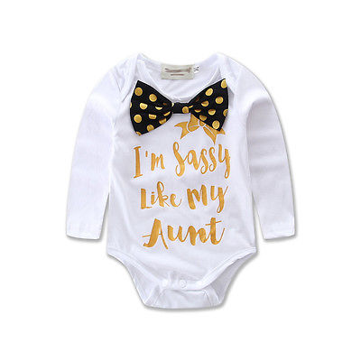 2017 Baby Clothing Cotton Newborn Im sassy like my aunt Headband Baby Girl Boy Clothes Bodysuit Jumpsuit Playsuit Outfits одежда на маленьких мальчиков