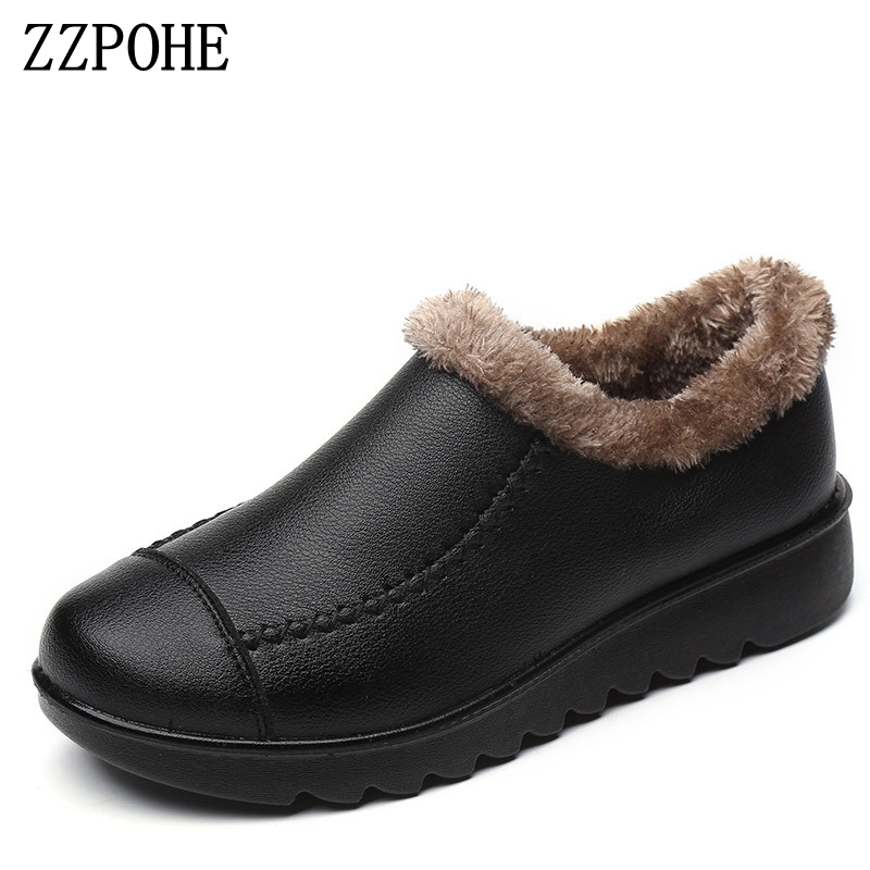 ZZPOHE Woman winter shoes Mother soft bottom non-slip elderly cotton shoes women's flat ankle snow boots free shipping forsining men tourbillon automatic mechanical watch mens watches top brand luxury genuine leather wristwatch relogio masculino