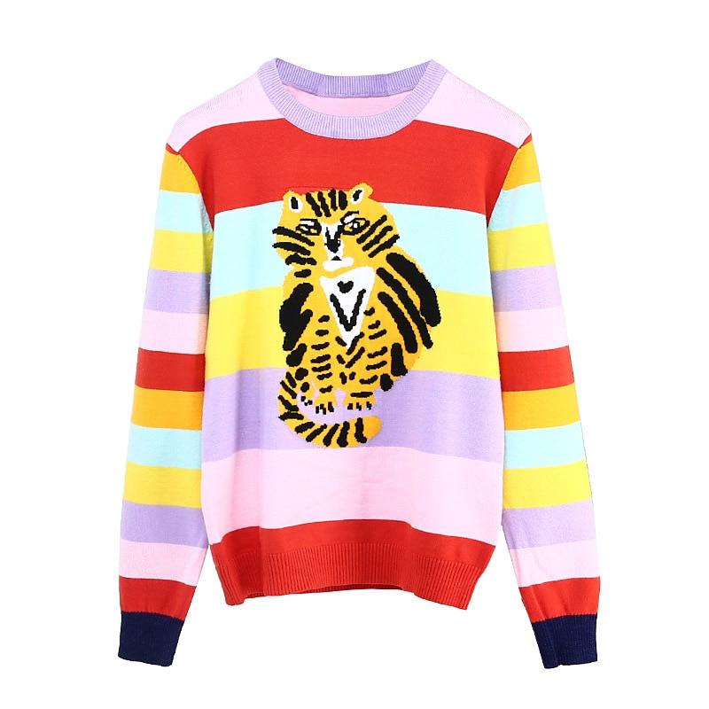 New Runway Women Rainbow Striped Sweaters Jacquard Cute Cat 2018 Autumn Female Casual College Girl s