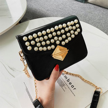 Female Pearl Messenger Bag 2019 Summer Quality PU Leather Women Designer Handbag Lock Chain Ladies Shoulder bag small Flap bags fashion designer flap lady brand women shoulder bag chains swallow lock messenger bags genuine leather handbag original quality