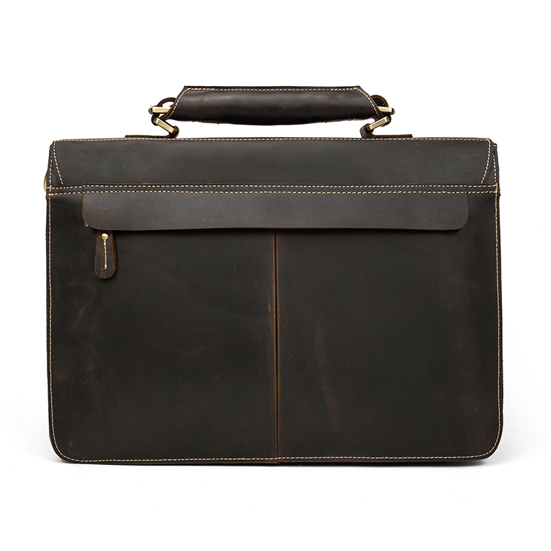"""Vintage Men s Genuine Leather briefcase 16 Cowhide Business bag Cow leather Laptop Double Layer messenger Vintage Men's Genuine Leather briefcase 16"""" Cowhide Business bag Cow leather Laptop Double Layer messenger bag PC work tote"""