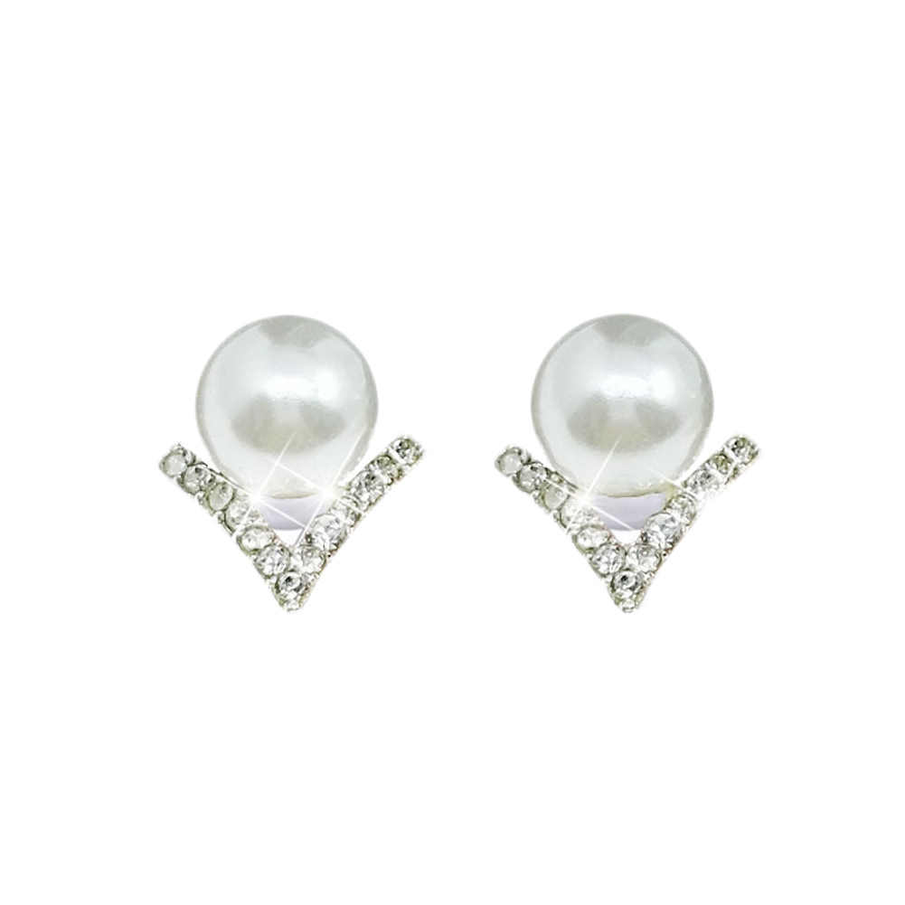 Fine Jewelry Rhinestone Gray Imitation Pearl Earrings Silver plated Needle Geometric V Type Stud Earrings Anti Allergy Bisuteria
