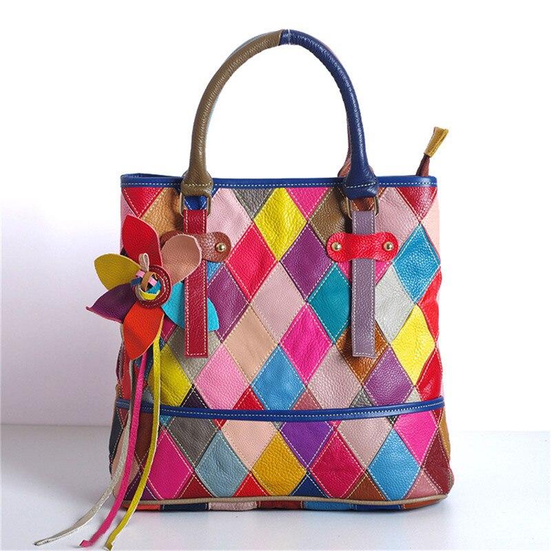 Dames sacs 2018 Patchwork coloré haut-poignée sac de messager femmes sac à main cross body épaule sac en cuir femmes sac un principal