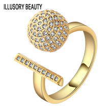 Open AAA Cubic Zirconia Rings For Women Authentic Girls Paved Round Shaped Rectangular Crystal Hot Anel Wedding Gift Party Gold