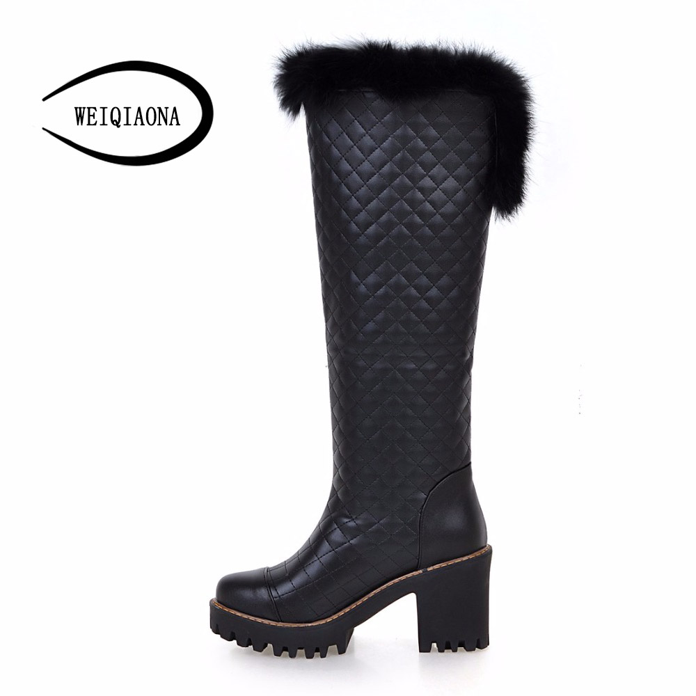 size 34-43 Women Boots  Winter New Fashion Ladies Sexy Knee High Boots Long Boots Thick High Heels platform shoes Knight boots size 34 42 2016 new high quality fall winter boots thick med heels platform shoes woman fashion add fur knee women boots