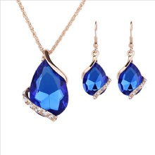 цена на LAQ new fashion Crystal Earrings Gold Color Necklaces& linked Earrings Geometric Design Jewelry Sets For Women