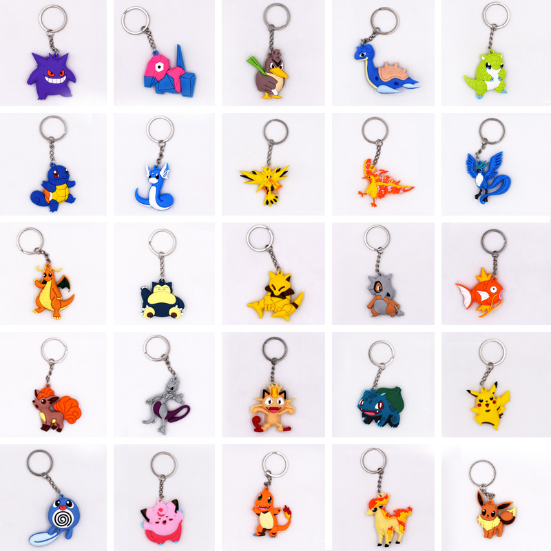 25 styles Keychain Pikachu Bulbasaur Charizard Mewtwo Lapras Porygon Key Holder Go Key Ring Pendant 3D Mini PVC Trinkets Toy 2 quot in Action amp Toy Figures from Toys amp Hobbies