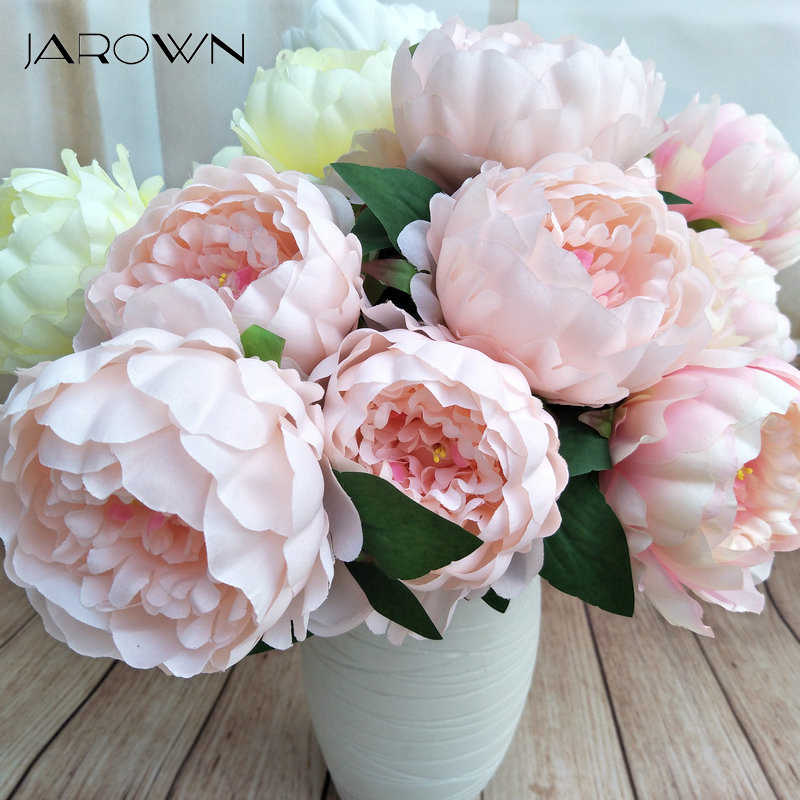 JAROWN Artificiale Europeo 5 Testa Rotonda Peony di Simulazione di Seta Fiori Finti Matrimonio Decorativo Flores Home Office Decor Blumen