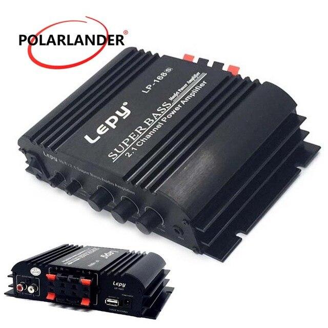 Cheap Lepy LP-168S 12V 2.1 Channel Auto Audio Car Amplifier Power Subwoofer Bass Output HiFi Stereo Sound WithAUX Function LoudSpeaker