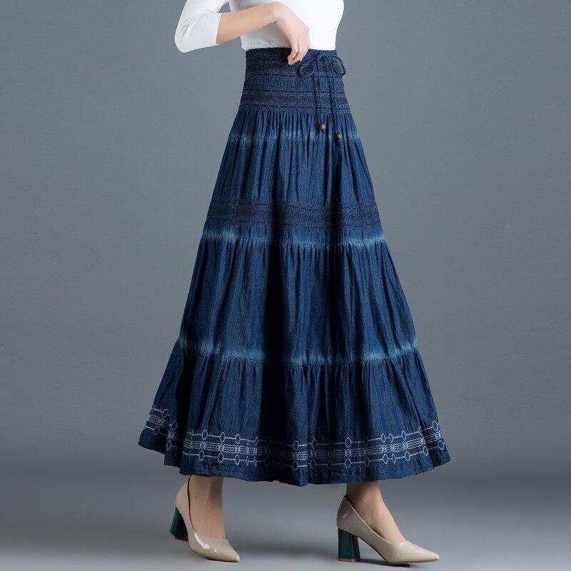 Woman Spring Autumn Denim Long Skirt 2019 Korean Style Vintage Woman High Elastic Waist Denim A Line Maxi Skirt Blue Jeans Skirt