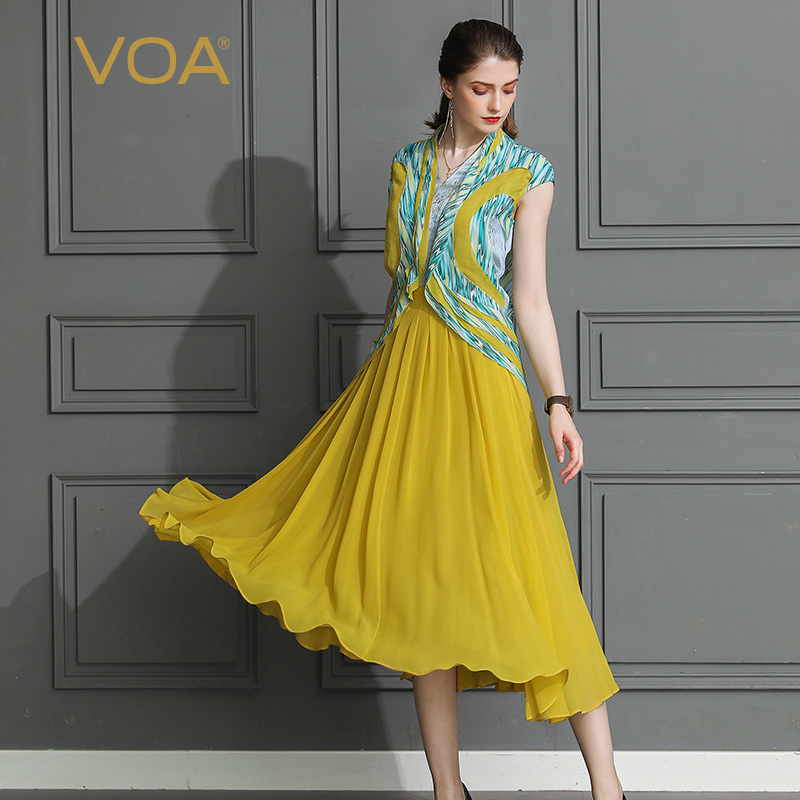 b63ee909baa VOA Silk Georgette Pleated Dress Long Dresses Women Plus Size 5XL Vintage  Slim Tunic Sweet Kawaii Print V Neck Summer A662