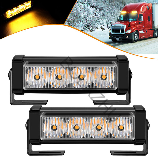 Strobe Lights For Trucks >> 2x4 Led Strobe Light Car Truck Front Grille Emergency Flash Lamp Bar
