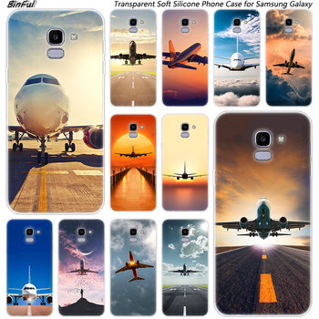Hot Airplane Departure Soft Silicone Phone Case For Samsung Galaxy J8 J6 J4 2018 J2 Core J5 J6 J7 Prime J3 2016 2017 EU J4 Plus image