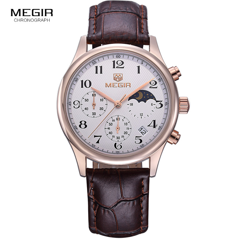 Megir fashion leather quartz watch man luxury waterproof chronograph sport wristwatch men relogios masculinos 5007 free shipping
