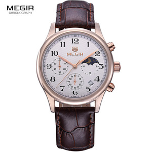 Image 1 - Megir fashion leather quartz watch man luxury waterproof chronograph sport wristwatch men relogios masculinos 5007 free shipping