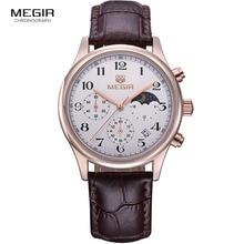 Megir mode leder quarzuhr mann luxus wasserdichte chronograph sport armbanduhr männer relogios masculinos 5007 freies verschiffen