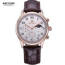 Megir ファッションレザークォーツ腕時計男性高級防水クロノグラフスポーツ腕時計男性 relogios masculinos 5007 送料無料