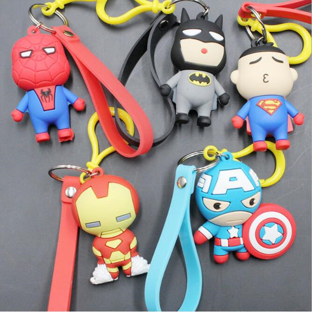 Vingadores da marvel Homem De Ferro Chaveiro Pingente Capitão América Superman Spiderman Batman Dos Desenhos Animados Suave Boneca de Brinquedo