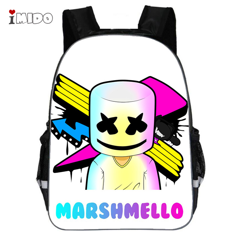 DJ Marshmello Guy School Bag for Teenager Boys and Girls Kids Personized Schoolbag Marshmallow face Smile Hip-hop Funny Backpack