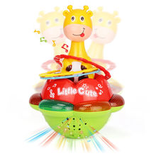Baby Rattles Tumbler Doll Baby Toys Sweet Bell Music Roly-poly Early Education Projection Giraffe Tumbler Toy with Color Light(China)