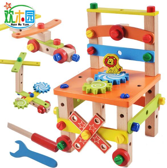 Children's chairs building blocks nut combination disassembly assembling toys Early Learning Toys for kids kids wooden toys nut combination puzzles early learning game jigsaws nut kits for children