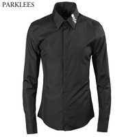 Skull Embroidery Men Shirt Chemise Homme 2017 Luxury Brand New Slim Casual Button Down Mens Dress