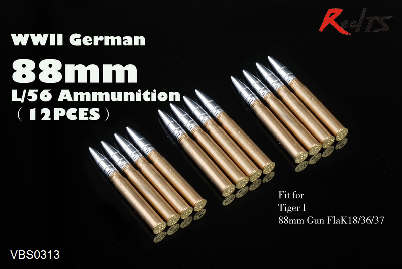 RealTS Voyager VBS0313 1/35 WWII German 88mm L/56 Ammunition (12PCES) (GP)