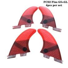 Surfboard FCS2 G5+GL fins Black/Blue/Red/Green color Honeycomb Fibreglass fin Quad set