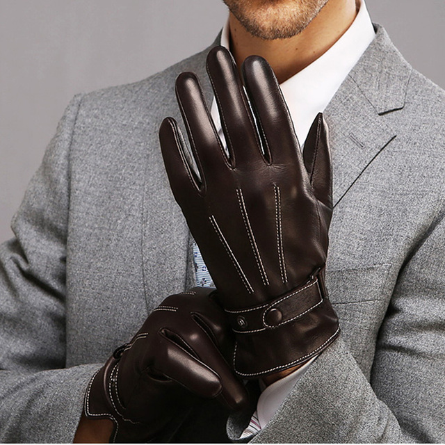 f66fcd765a9c4 Fashion Top Quality Men Genuine Leather Winter Warm Solid Driving Gloves  Wrist Buttons Sheepskin Glove Free Shipping M009NC-5