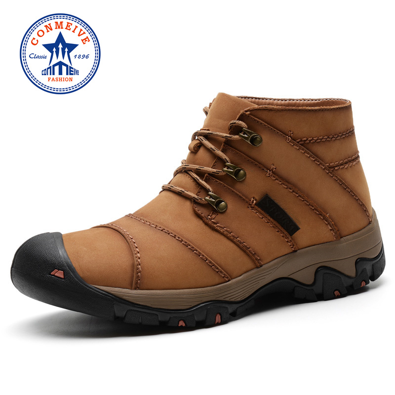 Rushed Winter Hiking Shoes Boots Genuine Leather Outdoor Trekking Lace-up Climbing Mens Hunting Sneakers Men Brown Male Walking yin qi shi man winter outdoor shoes hiking camping trip high top hiking boots cow leather durable female plush warm outdoor boot