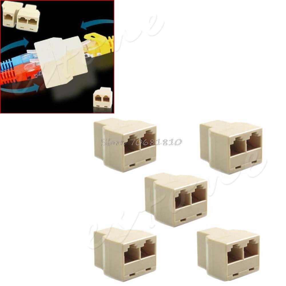 Lot 5 LAN Ethernet Splitter Connector RJ45 CAT 5 6 Adapter PC New -R179 Drop Shipping rj45 connector cat5 cat6 lan ethernet splitter adapter 8p8c network modular plug for pc laptop 10pcs aqjg