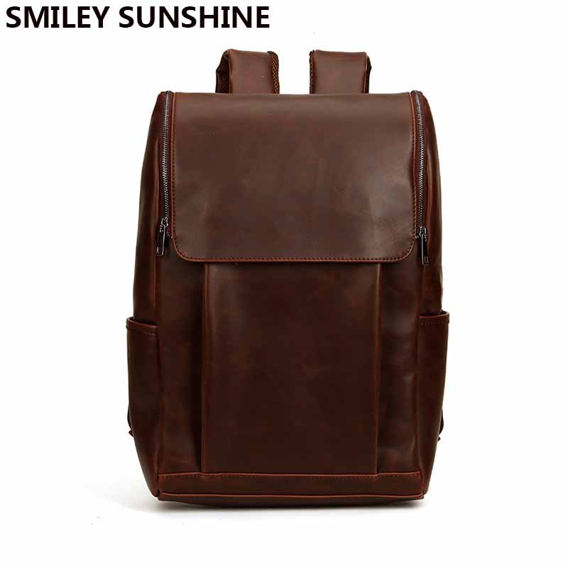 High Quality pu Leather Travel Backpack for Men School Bag Laptop Notebook Backpack Male Large Brown BackBag sac a dos homme