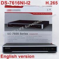 DHL 무료 배송 재고 DS-7616NI-I2 영어 버전 채널 NVR 2 SATA, 비 POE, HDMI VGA 및 재생 nvr의 VCA H.265