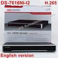 Envío Libre de DHL en stock DS-7616NI-I2 Inglés versión 16ch NVR con 2 SATA, no POE, HDMI VGA plug & play NVR 16ch VCA H.265