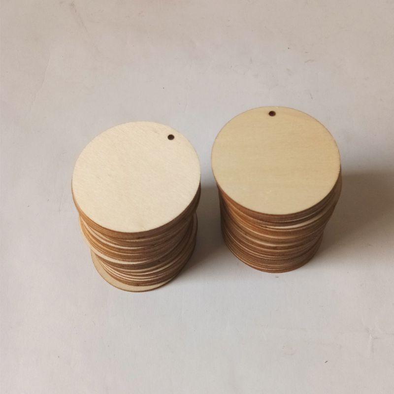 50pcs Unfinished Round Wooden Discs Ornament Embellishments For Scrapbooking DIY Craft One Hole Handmade Home Decor 50mm in Wood DIY Crafts from Home Garden