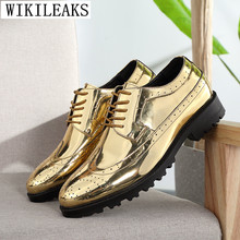 designer luxury brand men shoes patent leather formal mariage wedding dress bullock oxford for